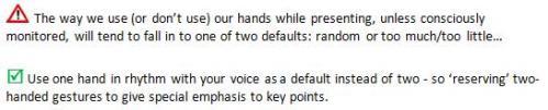 Hand Gestures in Presentations