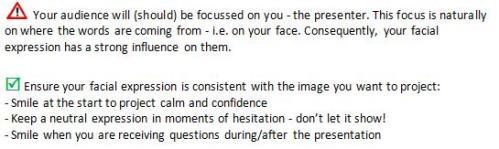 Facial Gestures in Presentations